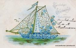 historische Geburtstagskarte Vergissmeinnicht Prägung Goldaufllage 1904
