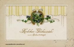 historische Geburtstagskarte Kleeblatt Hufeisen 1914