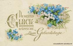 historische Geburtstagskarte Vergissmeinnicht Maiglöckchen Goldauflage 1933