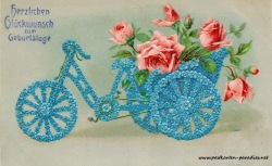 historische Geburtstagskarte Vergissmeinnicht Rosen Rikscha 1906