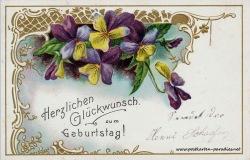 historische Geburtstagskarte Stiefmütterchen 1904