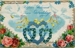 historische Geburtstagskarte Vergissmeinnicht Rosen Herz Tauben Goldauflage 1904