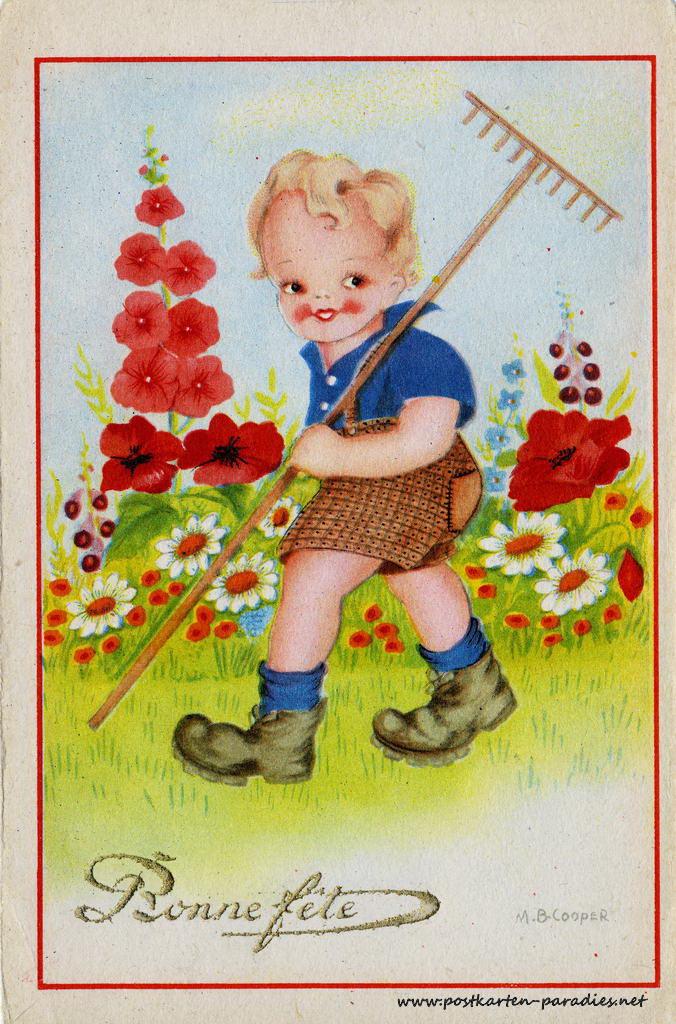 alte Geburtstagskarte Junge Frankreich