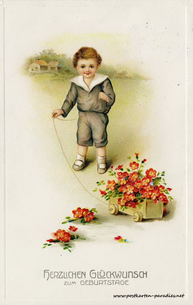 alte Geburtstagskarte Junge Blumen 1916