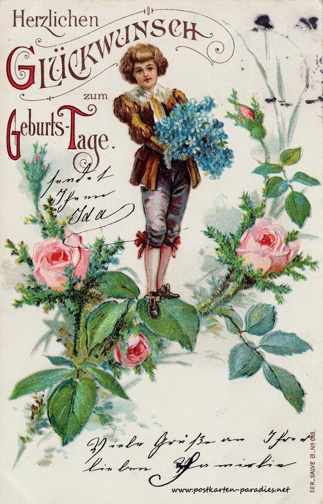 alte Geburtstagskarte Junge Vergissmeinnicvht 1904