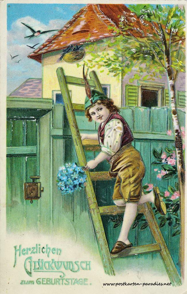 alte Geburtstagskarte Junge Vergissmeinnicht Leiter 1910