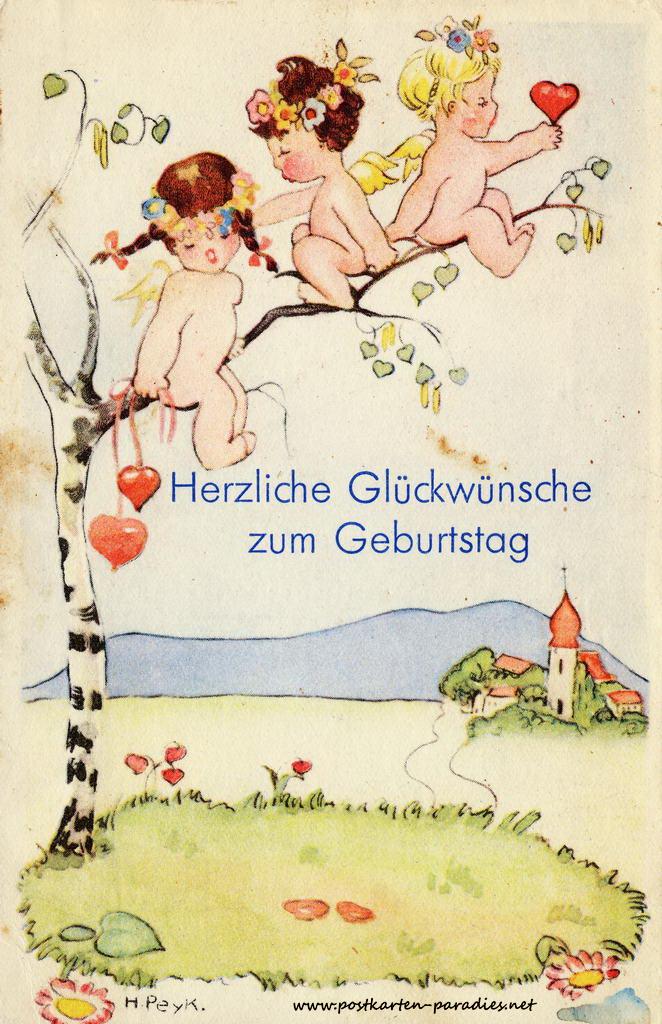 alte Geburtstagskarte Kinder Herzen Ansicht