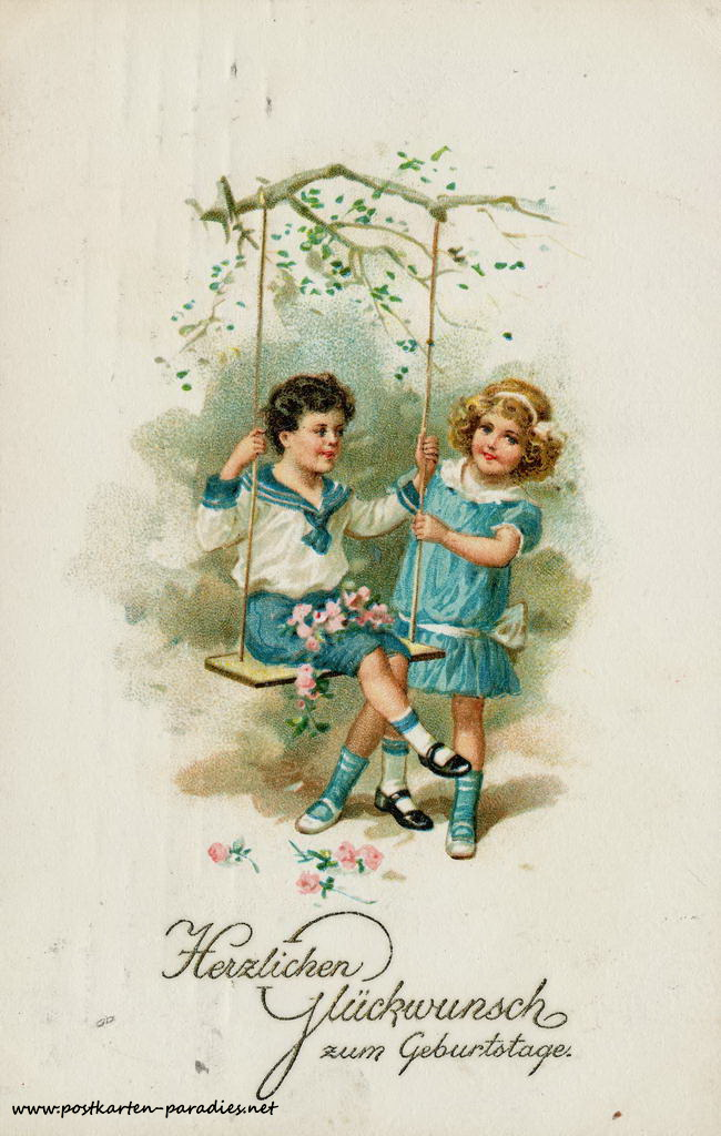 alte Geburtstagskarte Kinder Schaukel 1914