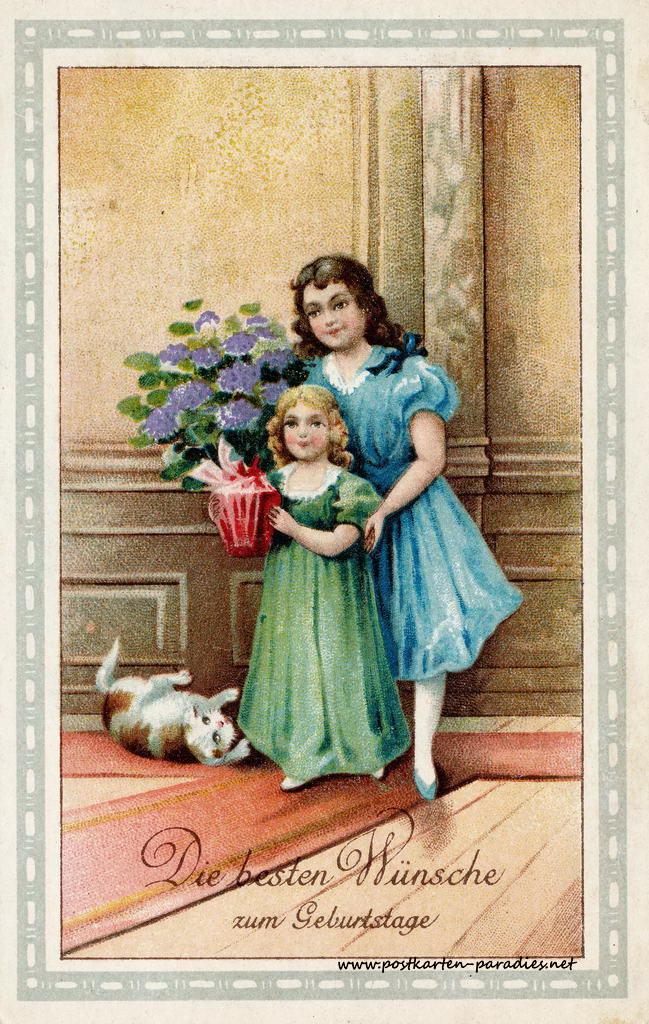alte Geburtstagskarte Mädchen Blumentopf