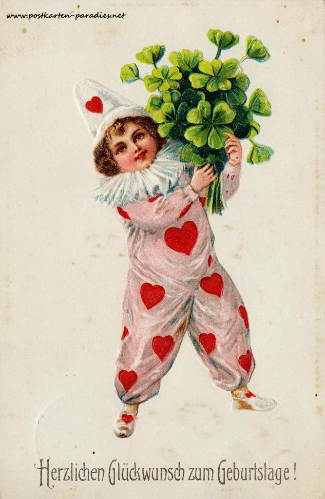 alte Geburtstagskarte Mädchen Kleeblatt Harlekin 1911