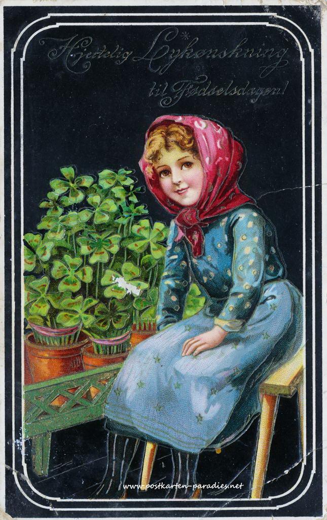 alte Geburtstagskarte  Mädchen Kleeblatt Norwegen 1902