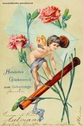 alte Geburtstagskarte Fee Blumen Brief 1906