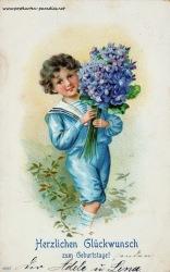alte Geburtstagskarte Junge  Vergissmeinnicht 1906