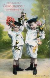 alte Geburtstagskarte Junge Matrosenuniform 1903