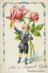 alte Geburtstagskarte Junge Rosen Vergissmeinnicht