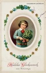 alte Geburtstagskarte Junge Kleeblatt Vergissmeinnicht 1906