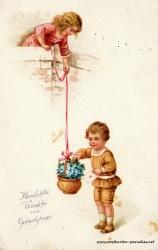 alte Geburtstagskarte Kinder Vergissmeinnicht Brief 1926