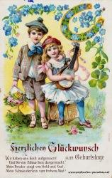 alte Geburtstagskarte Kinder Mandoline Gedicht 1911