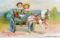 alte Geburtstagskarte Kinder Vergissmeinnicht Kutsche 1912
