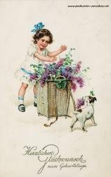 alte Geburtstagskarte Mädchen Blumen Hund 1917