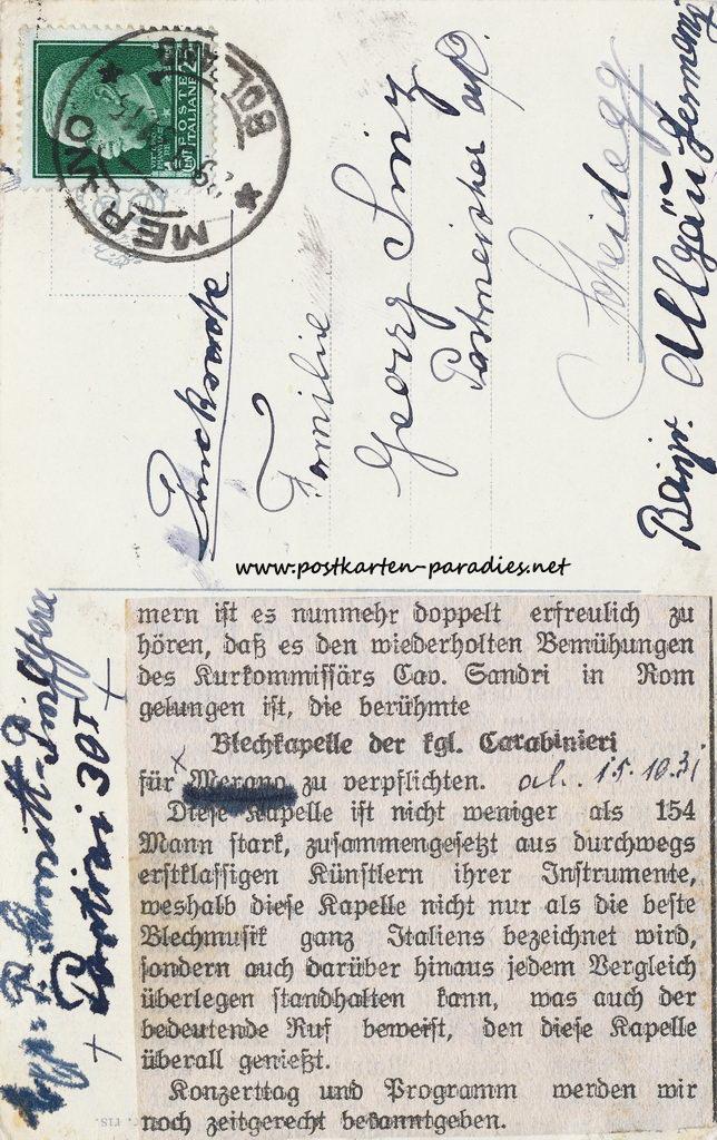 Italien Meran 1931 Campanile