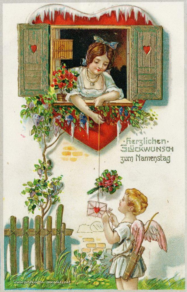 Namenstag, Frau, Engel, Herz,1904
