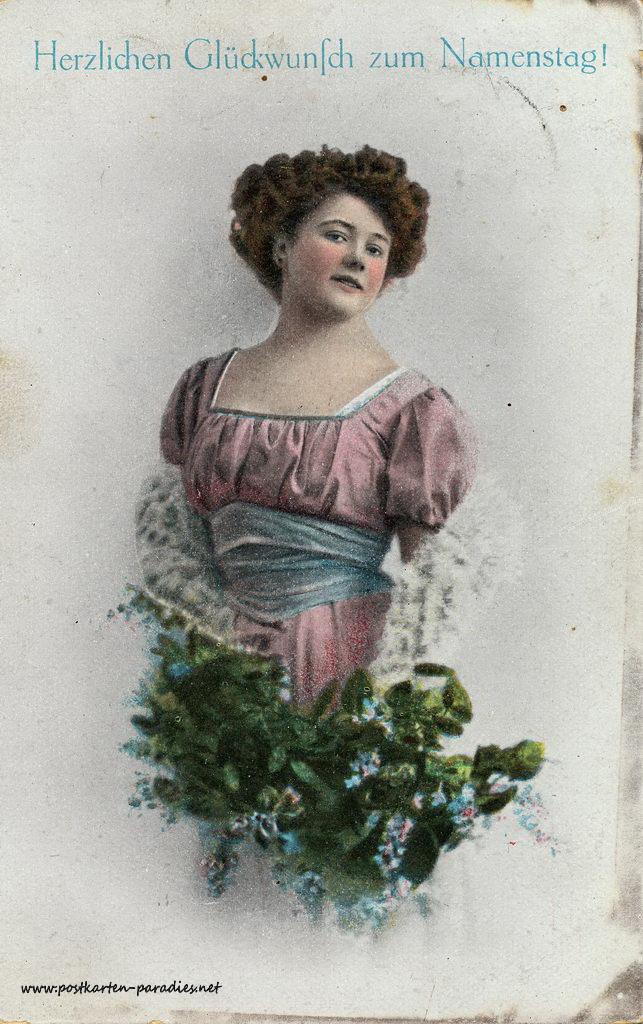 Namenstag, Frau, Blumen, 1911