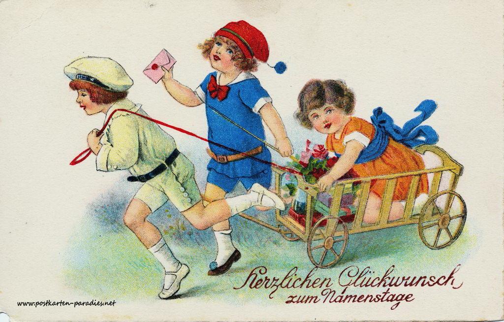 Namenstag, Kinder, Geschenke, Bollerwagen