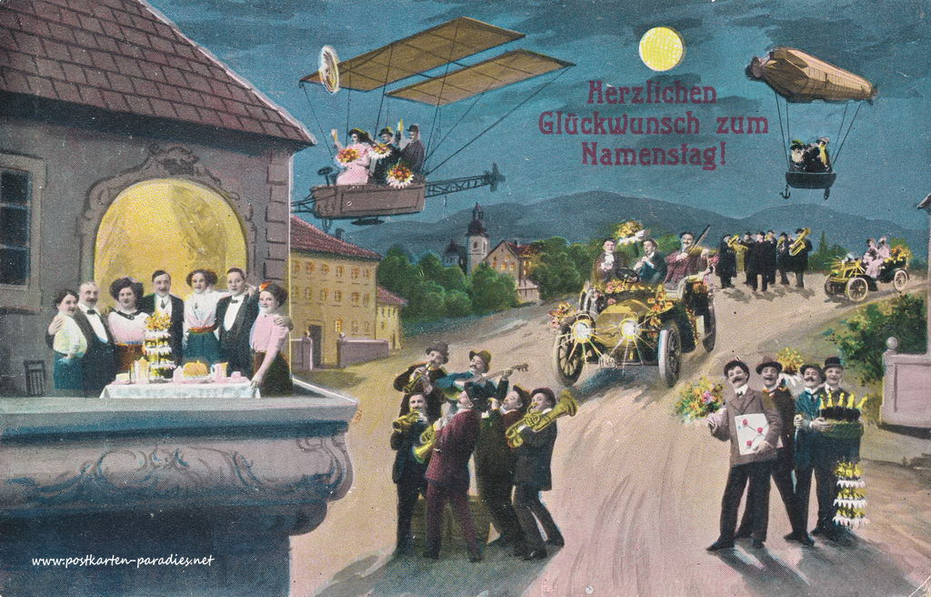 Namenstag, Menschen, Luftschiff, Flugzeug, Musik, Auto, Party, 1913