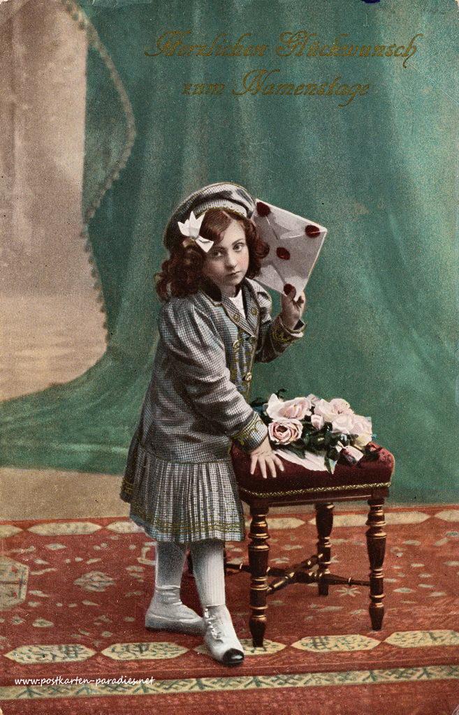 Namenstag, Maedchen, Brief, Blumen, 1905