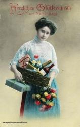 Namenstag, Frau, Blumen, Geschenke, 1914