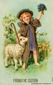 Osterkarte, Engel, Lamm 1908