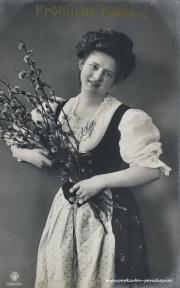 Osterkarte Frau 1902