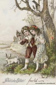Osterkarte Junge Mädchen Osterhase
