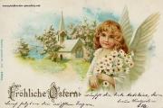 Osterkarte Mädchen 1898