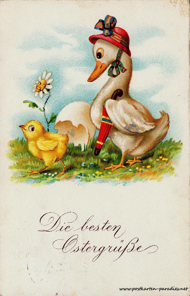 Osterkarte Ente Kücken 1929