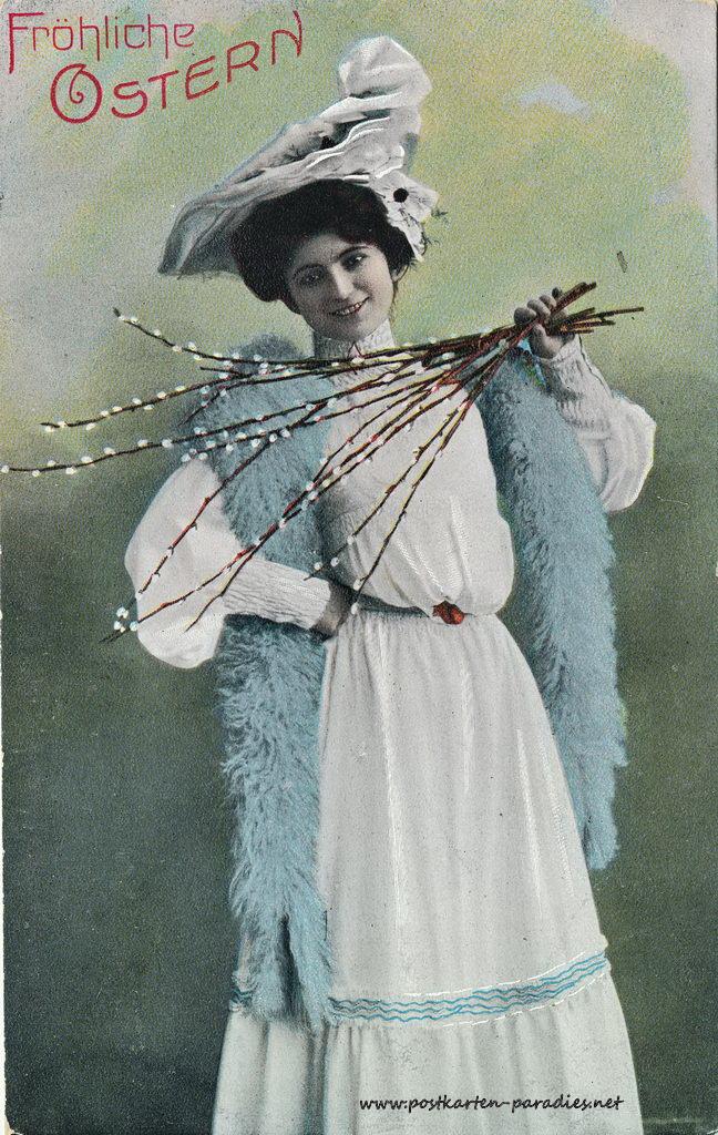 Osterkarte Frau 1907