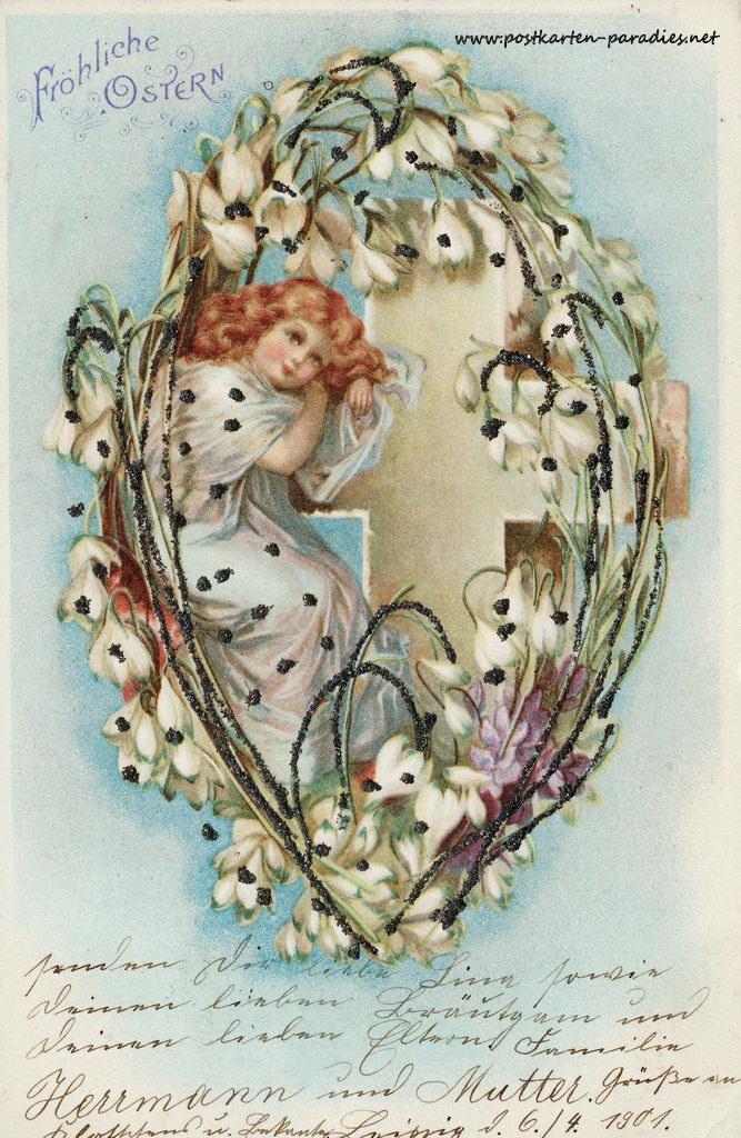 Osterkarte Mädchen Jugenstil 1901