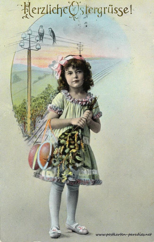 Osterkarte Mädchen 1920