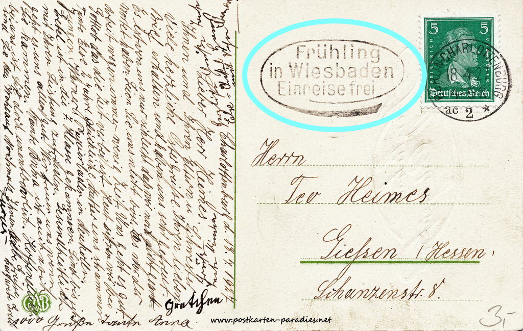 Osterkarte 1927 Rheinlandbefreiung