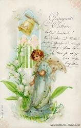 Osterkarte, Engel, Glocke, Maiglöckchen, 1898