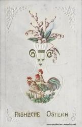Osterkarte Huhn, Hahn 1911