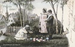 Osterkarte Junge Mädchen Kinder 1902