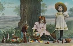 Osterkarte Mädchen Osterhase 1908