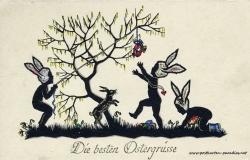 Osterkarte Kinder Osterhase Osterei Scherenschnitt