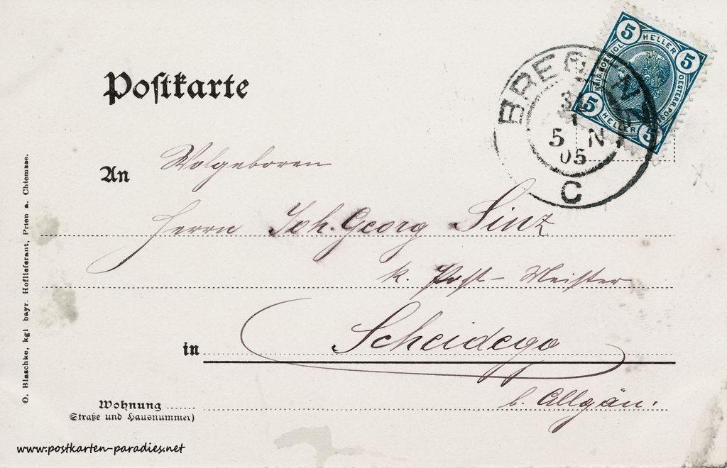 Kaiserzeit Österreich Ansichtskarte Hörbranz 1905 Vorderseite