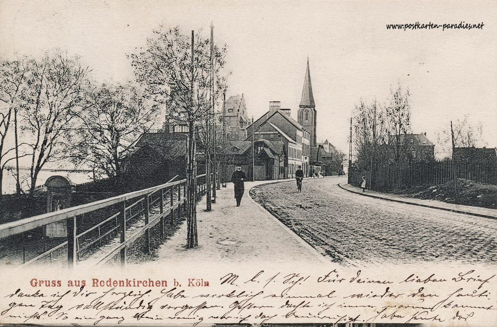 Ansichtskarte Köln-Rodenkirchen: Ortseingang 1907