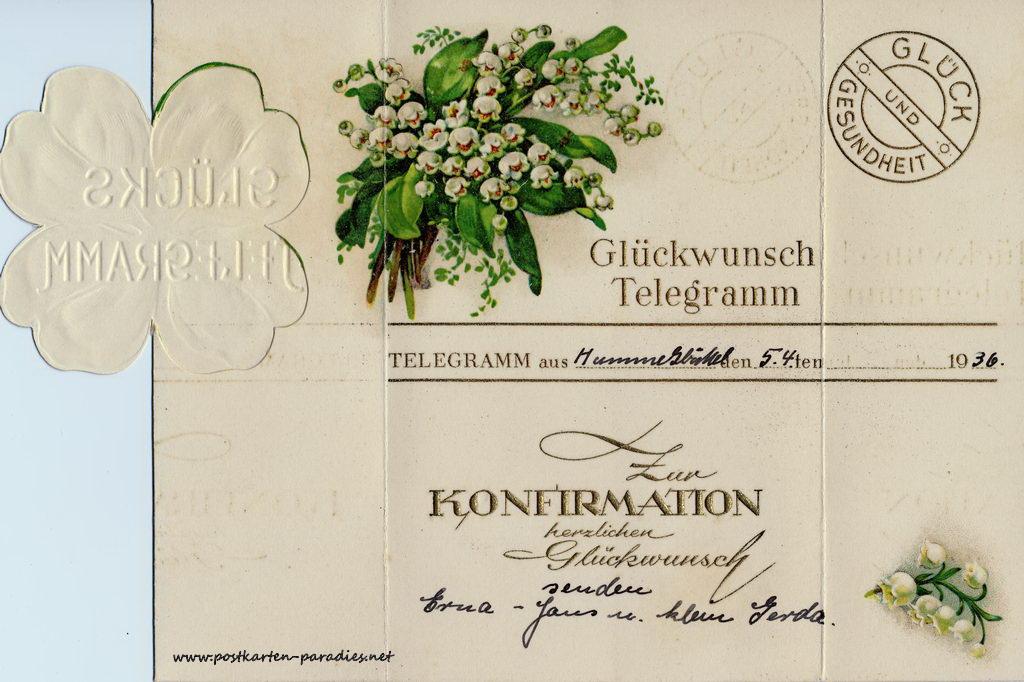 Glückwunsch, Telegramm, 1936, Maiglöckchen, Innenseite
