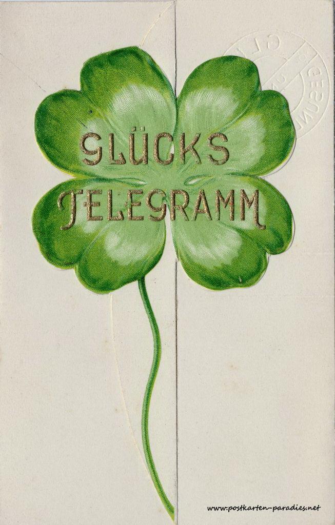 Glückwunsch, Telegramm, 1936, Kleeblatt, Vorderseite