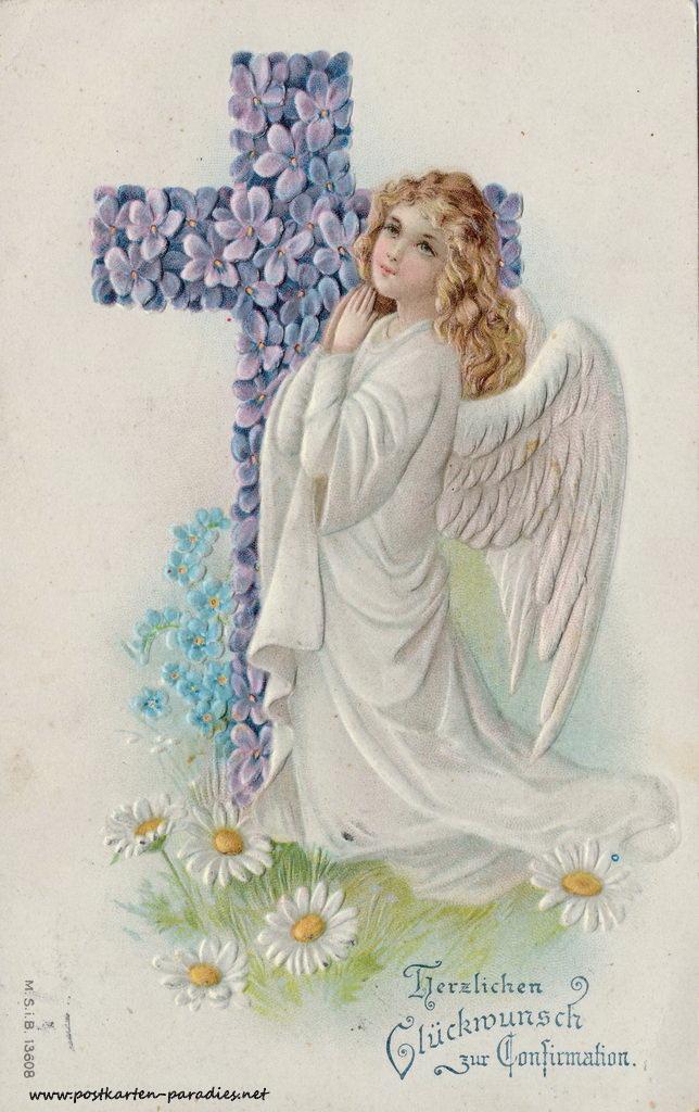 Glückwunsch, Engel, Kreuz, Prägung, 1908